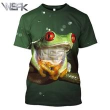 WSFK men and women 3D red eye tree frog print T-shirt summer round neck casual sweatshirt unisex short sleeve