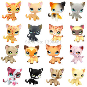 Toys Standing Christmas-Toys Animal-Figure Pet-Shop Cat Grey Littlest Black Short Hair