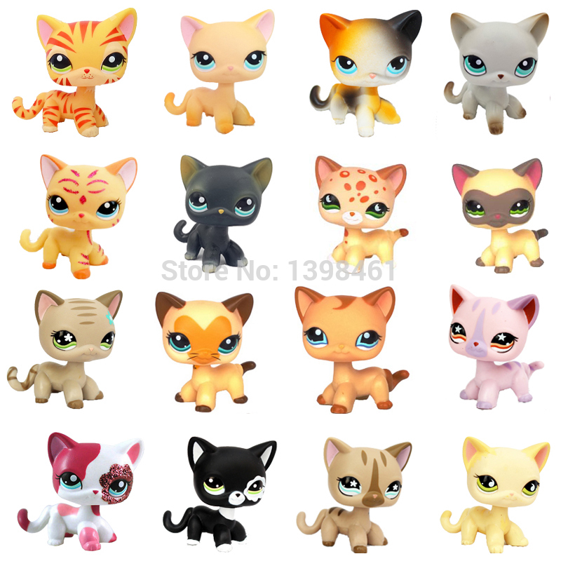 Rare Pet Shop Toys Standing Littlest Short Hair Cat Pink #2291 Grey #5 Black #994 Old Animal Figure Christmas Toys For Baby