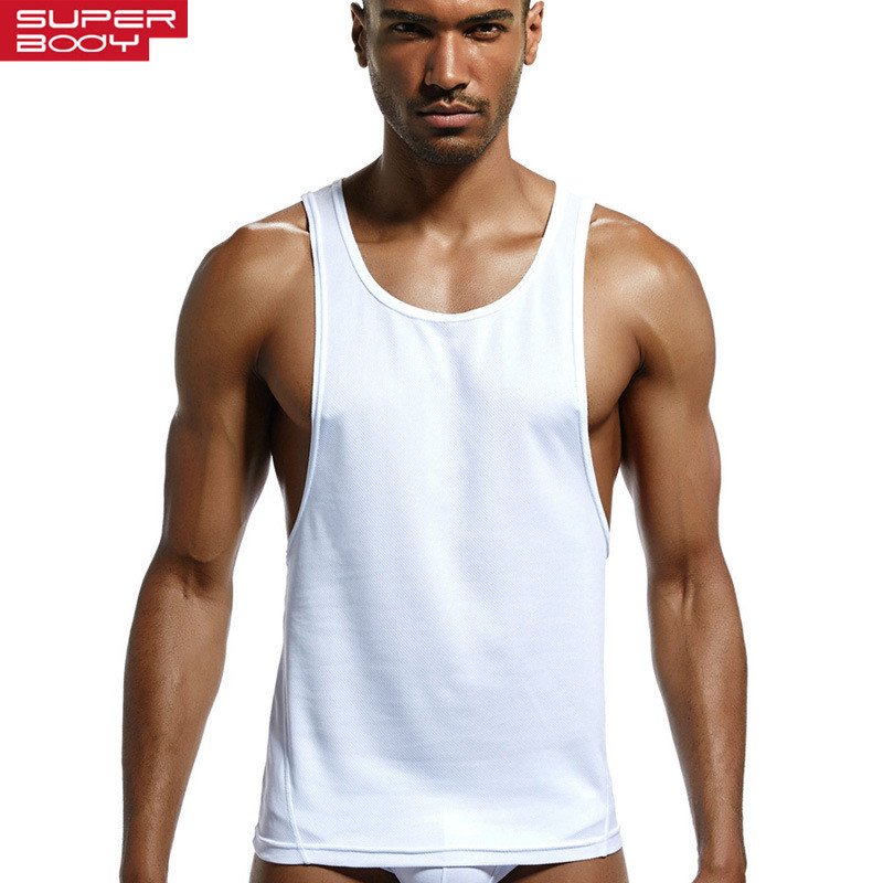SUPERBODY Mens Tank Tops Fitness Bodybuilding Polyester Quick-drying Fabric Vest Armpit Low Cut Workout Tank Top Men Undershirt