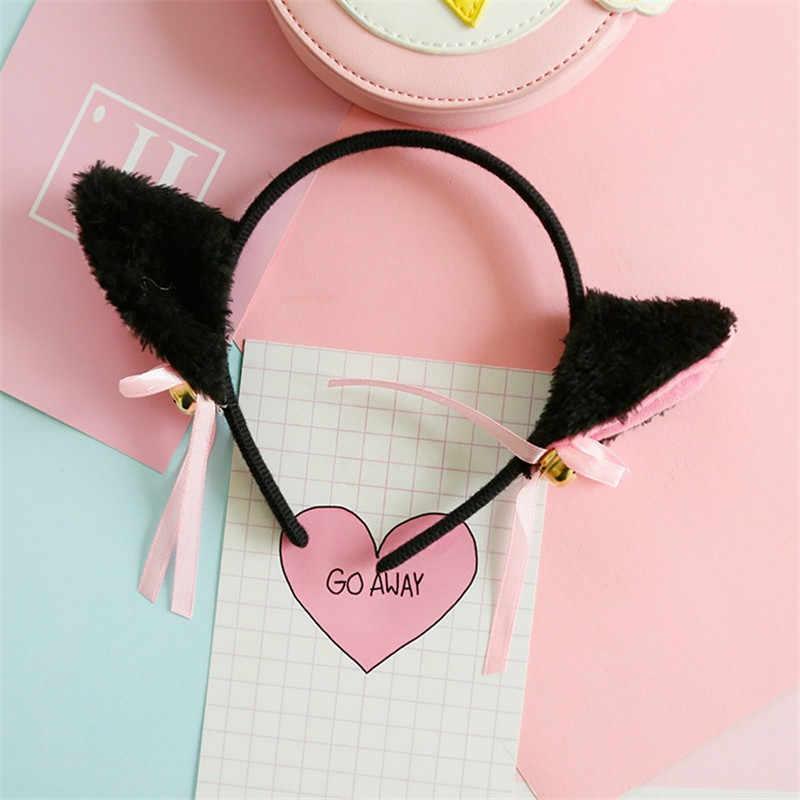 แฟชั่น Night Party Club Bar สวมใส่ตกแต่ง Headbands ขนสัตว์แมวรูปแบบคลิปแมวหูคลิปผมกับระฆัง