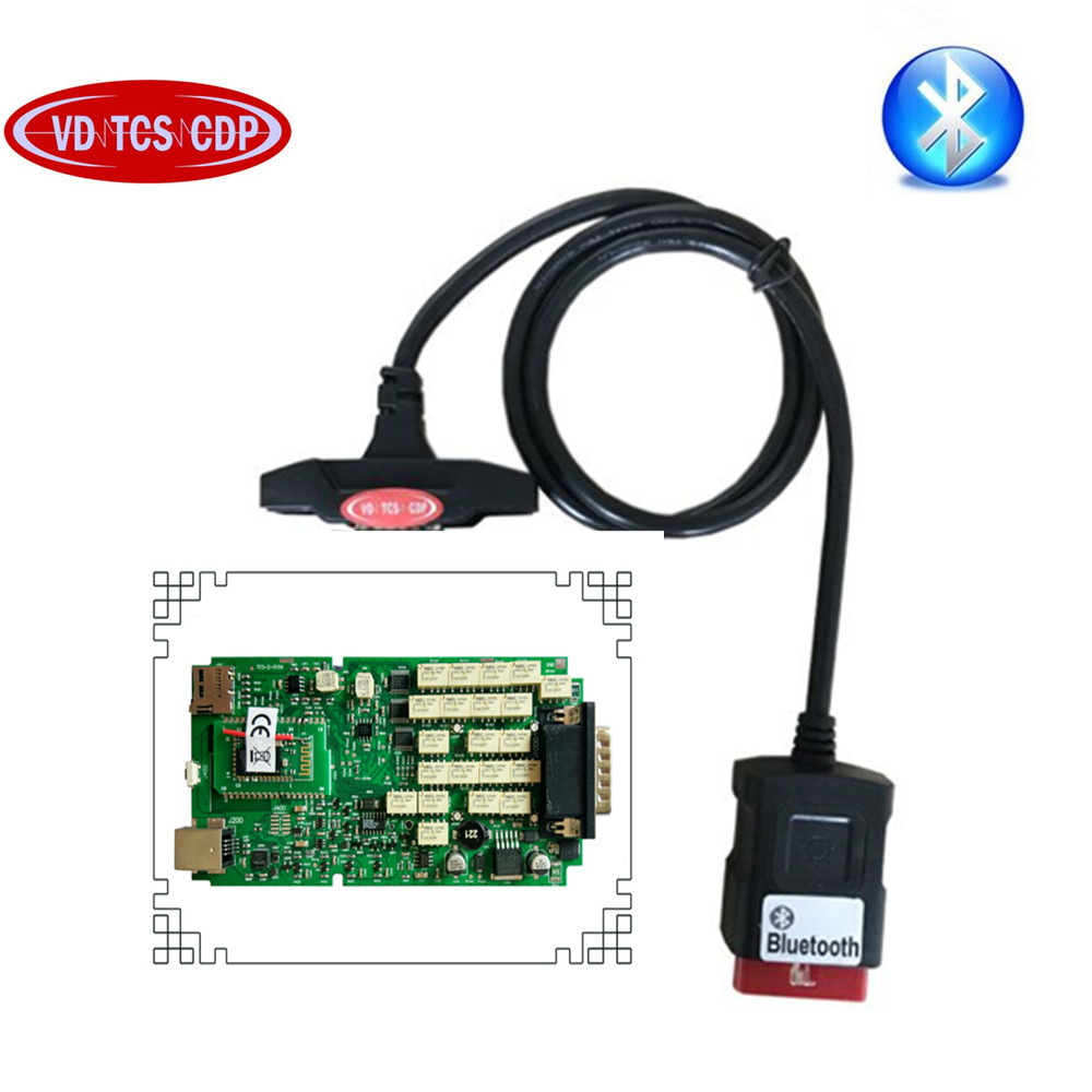 SALE! Best Quality Single Green PCB board vd tcs CDP Pro with Bluetooth for cars and Trucks obd2 Diagnostic tool Free Ship!