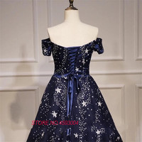 Party dress, new design, shoulder length, thin star, small tail, evening gown, custom made. marry dress vestido de noiva