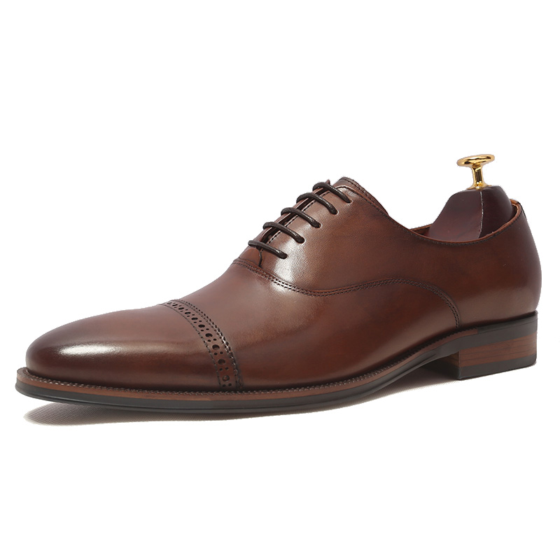 British Style Handmade Genuine leather Formal Suit Dress Shoes Cow Full Grain Leather Brogue Shoe Men