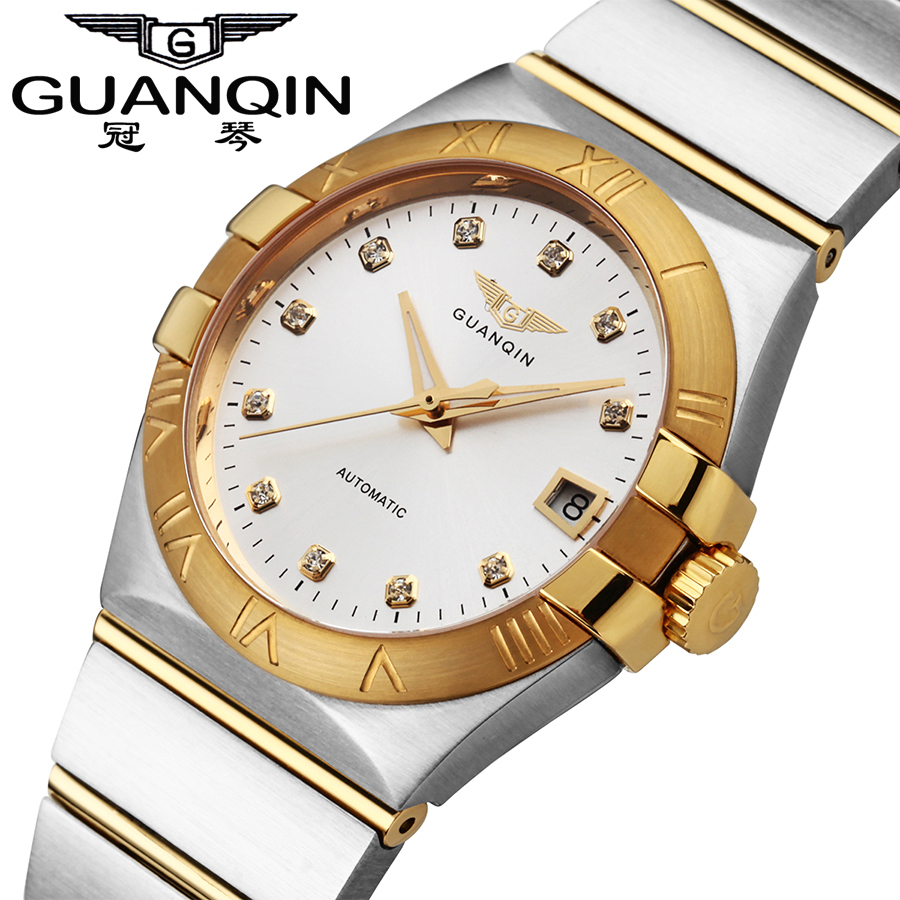 Mechanical Men Watches Top Luxury Brand GUANQIN Gold Diamond Dress Watch Sapphire Crystal Dial Free Shipping guanqin men automatic mechanical watch diamond waterproof sapphire watches steel men luxury top brand menb gold wristwatches