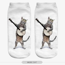 Fashion 3D Music Cat Socks
