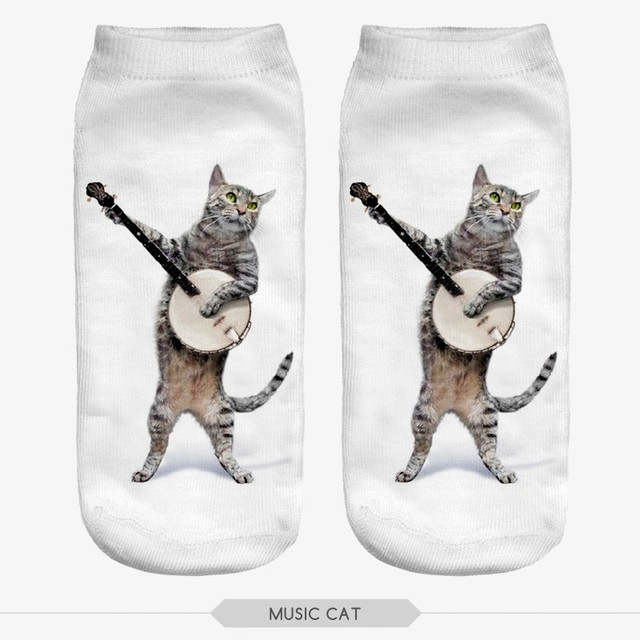 Cat with Guitar Printed Socks for Women
