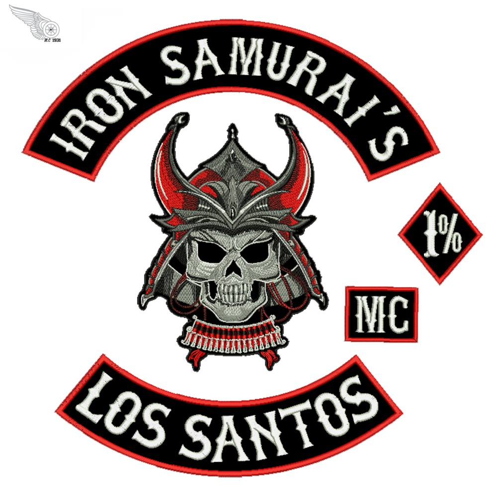 Iron samurais los santos motorcycle patch for jacket full back embroidery custom shirt stickers free shipping in patches from home garden on