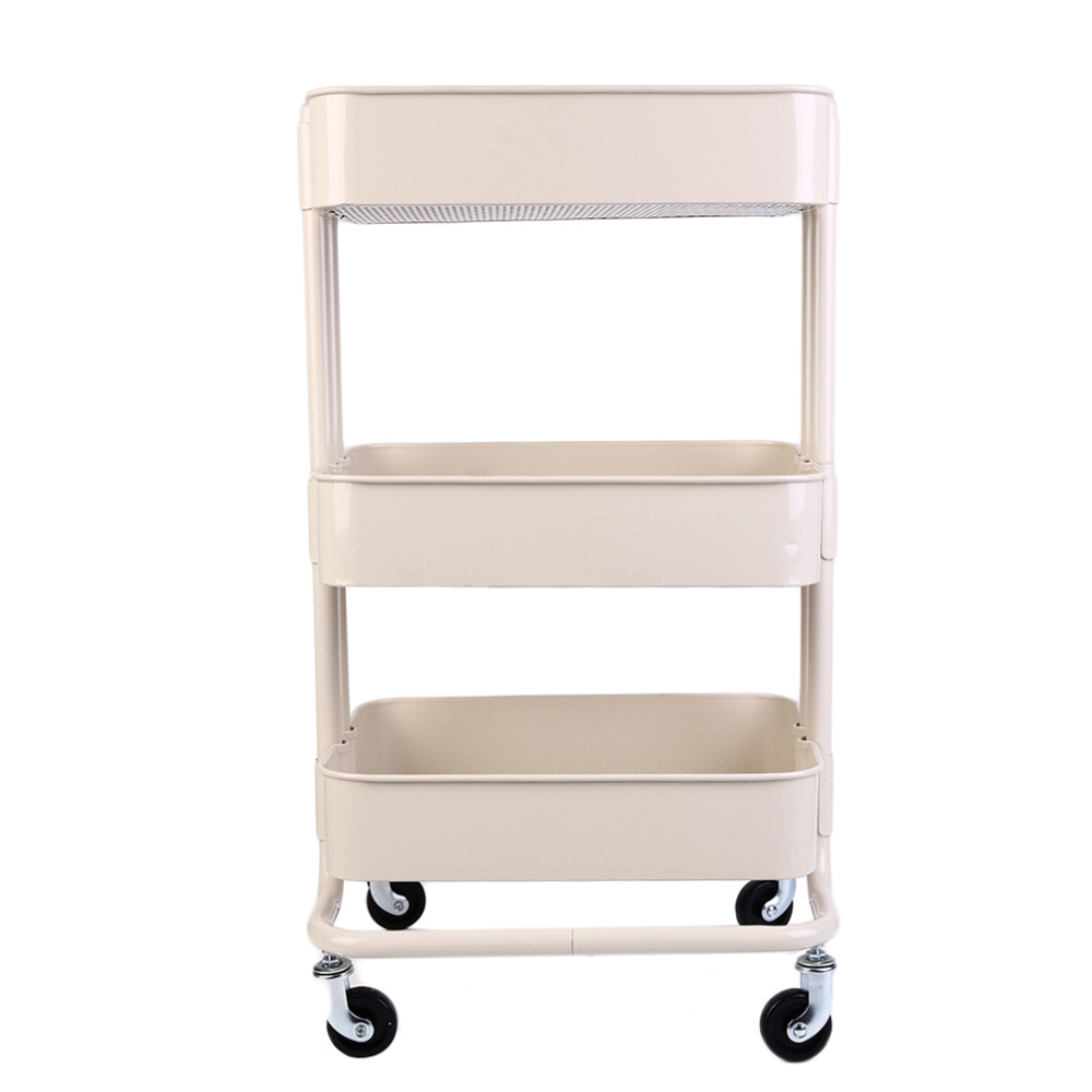 Multifunction 3 Layers Superposition Metal Storage Racks Superposition Shelf Holders Organizer With Wheels Nail Polish Storage