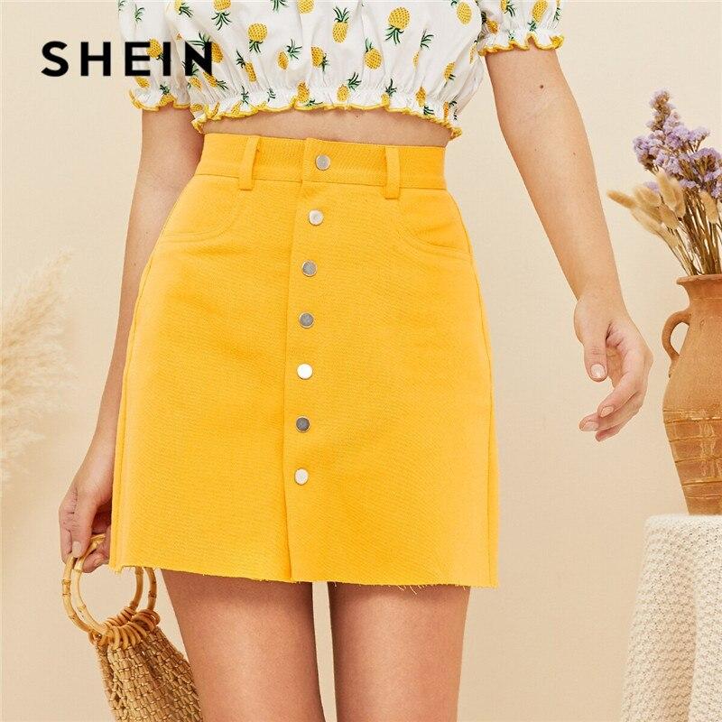 d7bb4af6b SHEIN amarillo brillante botón frente Mini faldas para mujer 2019 Boho  Mediados de cintura falda de ...