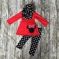 Осень/Зима НАРЯДЫ новорожденного красный черный 3 шт. шарф наряды точка минни топ рюшами брюки комплектов одежды хлопок девушки бутик