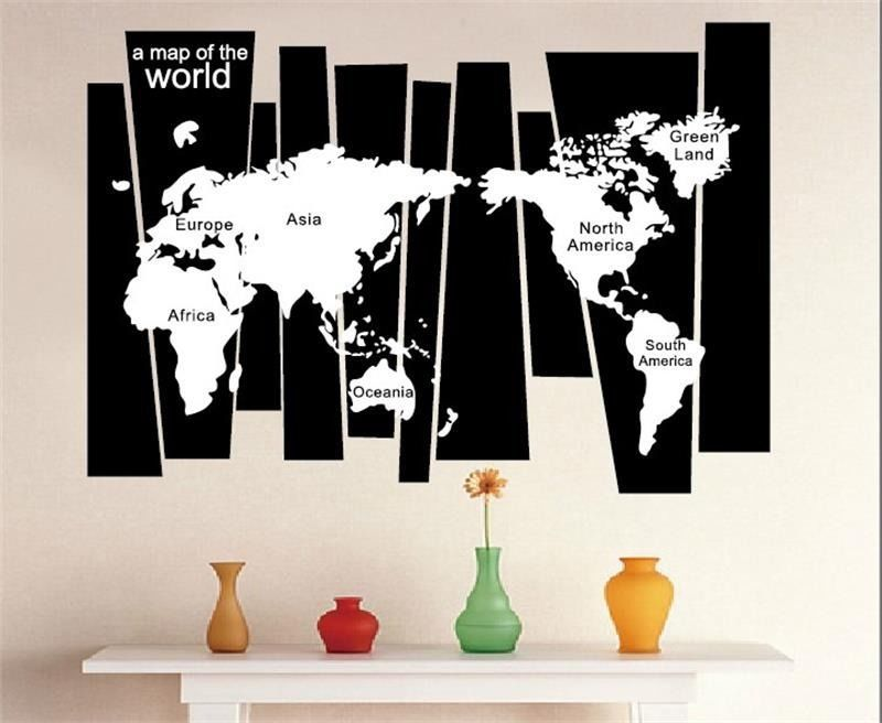 Large Size A Map Of The World BlackGround White Map Vinyl     Large Size A Map Of The World BlackGround White Map Vinyl Wall Decal Office  Room World Map Mural Art Wall StickerHome Decoration
