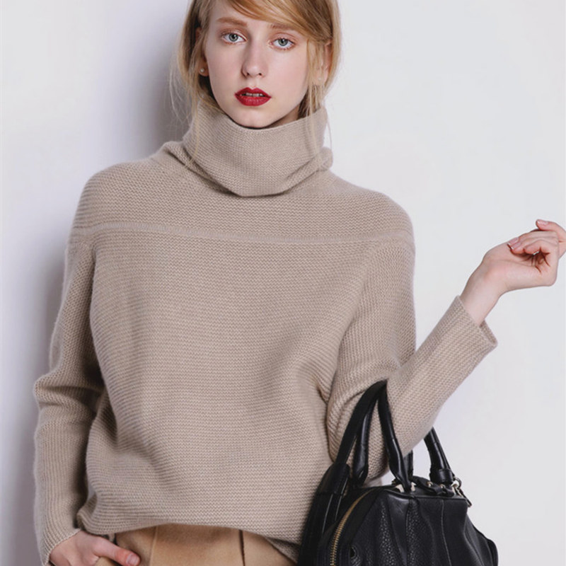 Smpevrg Lady Winter Cashmere Sweater Female Pullover Long Sleeve High Collar Pullover Women Sweaters And Pullover Knitted Jumper