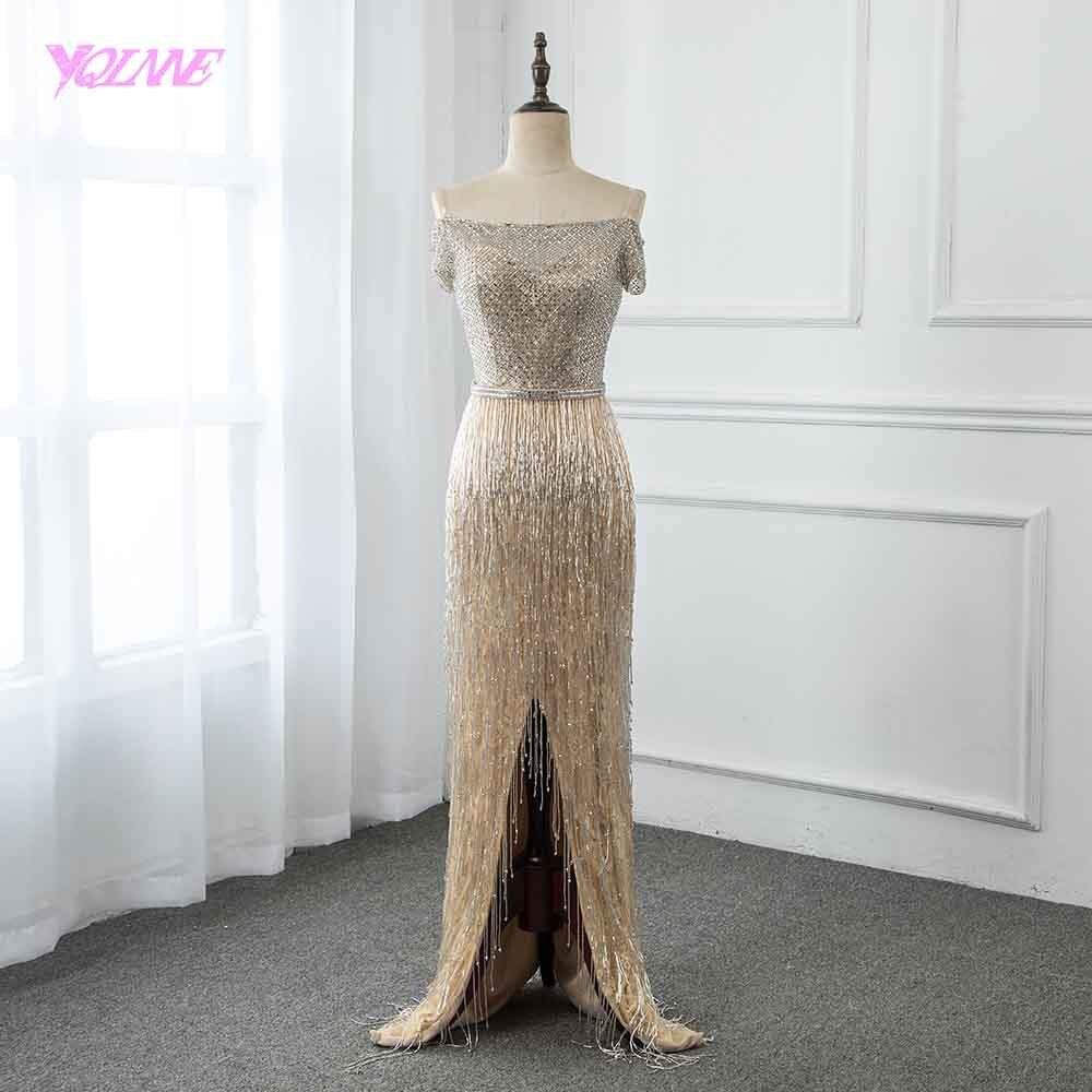 YQLNNE 2019 Champagne Long Off The Shoulder Evening Dress Beading Tassel Pageant Dresses Vestido De Festa