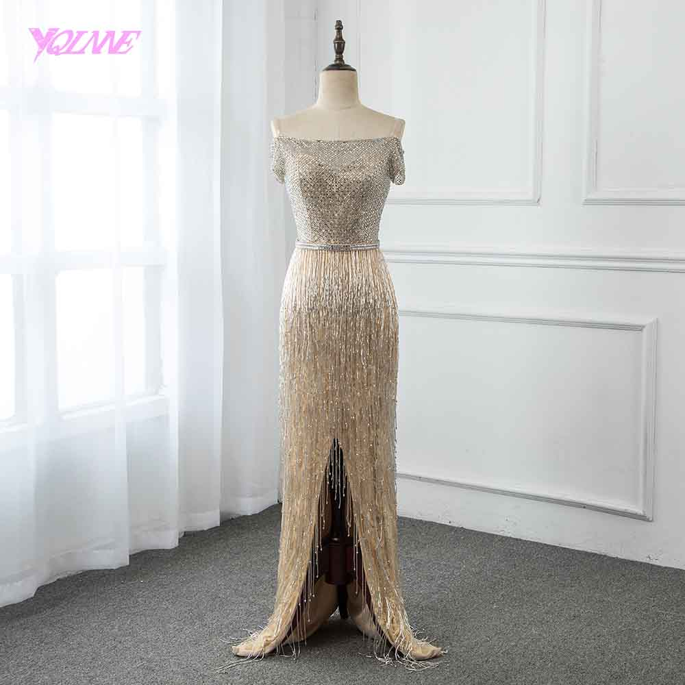 YQLNNE 2019 Champagne Long Off the Shoulder   Evening     Dress   Beading Tassel Pageant   Dresses   Vestido De Festa