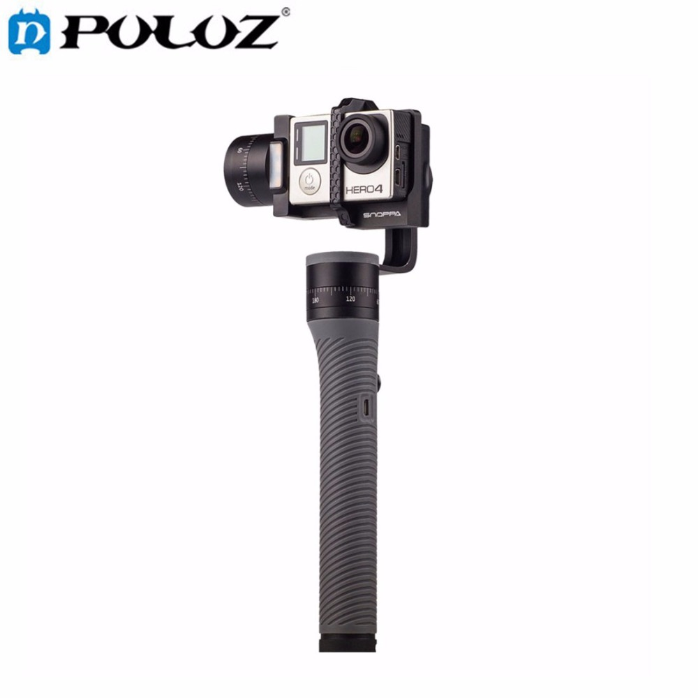 PULUZ 3-axis Sports Action Cameras Handheld Stabilizer Gimbal Clamp Mount Jaws w/ TF card for GoPro HERO5 4 Session HERO5 4 3 mool jaws flex clamp mount adjustable gooseneck mount for gopro hero 4 3 3 sj4000