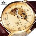 Sewor relógio automático homens marca de design de couro de negócios de luxo relógio mecânico esqueleto do relógio de pulso 2016 moda de luxo swq08