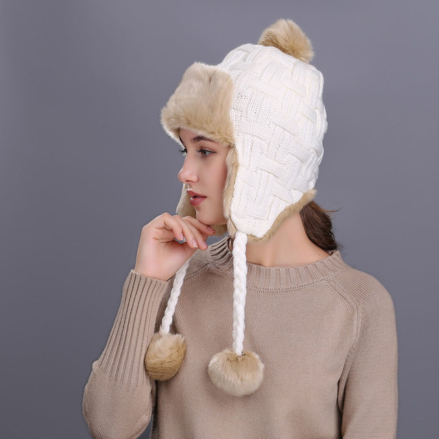 KLV Plaid women s hat Warm Winter Hat with Ear Flaps Snow Ski Thick Knit  Wool Beanie Cap earcuff hat c3638caf697