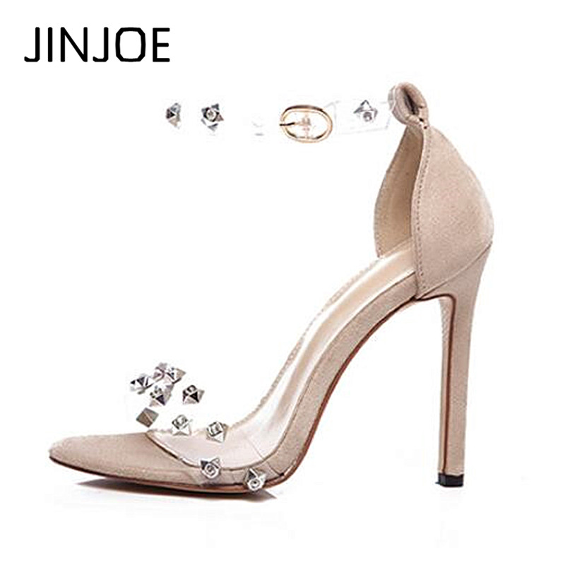 JINJOE Latest hot sale shoes Woman High heels in summer Black single shoe sexy Open toe Apricot Hasp With a fine 12cm shoes