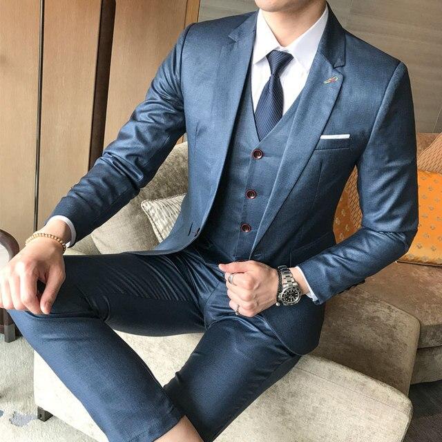 2018 nuevo traje de boda Delgado informal de negocios de moda para hombre  de tres piezas f5e760d700d