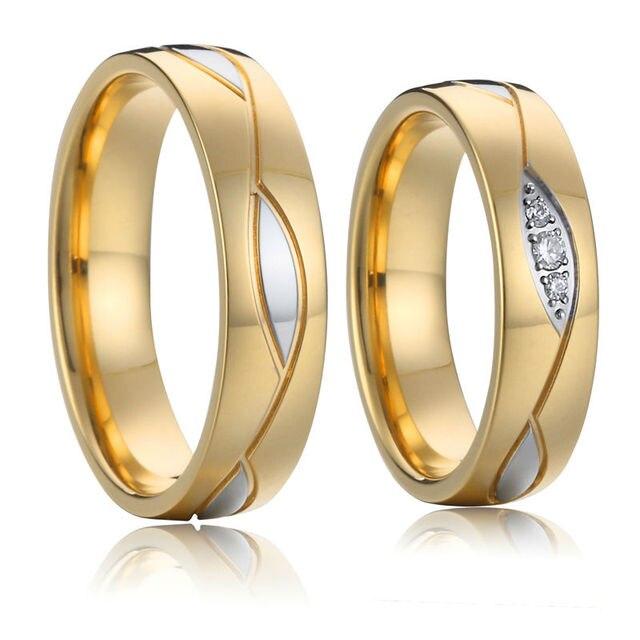 Hochzeit Band Verlobungsringe für Frauen und männer schmuck Gold