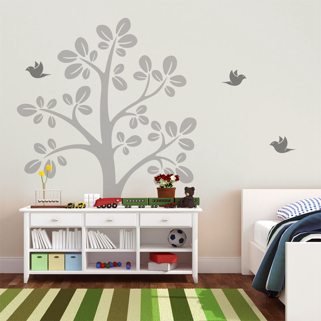 Large Tree Vinyl Wall Decals With Flying Birds   Nursery Tree Wall Sticker    Baby Bedroom