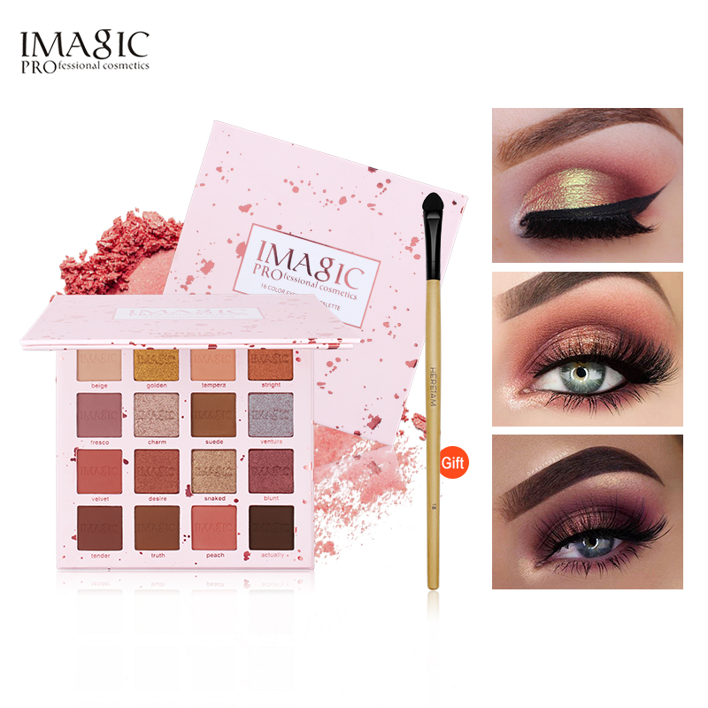 IMAGIC Nueva Sombra de Ojos 16 Colores Paleta de Sombra de Ojos Mate Shimmer Glitter Paleta Set de Maquillaje de Belleza