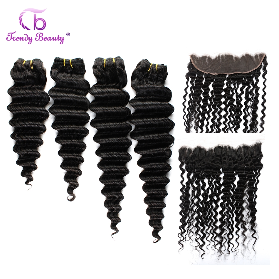 Brazilian Deep Wave Hair 4 PCS And 1PCS Ear To Ear Lace Frontal 100% Human Hair Extensions Color#1B Non-Remy Trendy Beauty 5PCS