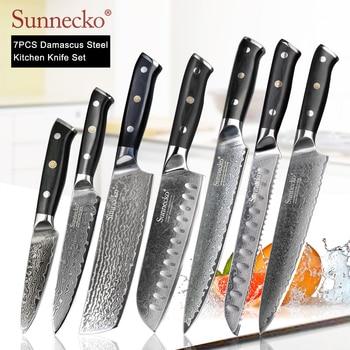 SUNNECKO Damascus Chef Utility Santoku Slicing Paring Cleaver Steak Bread Knife Damascus Steel Cut Kitchen Knives Set G10 Handle
