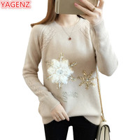 YAGENZ Long sleeve Top Ladies Spring Sweater Women Korean Women Sweaters And Pullover Knitted Sweater Embroidery Snowflakes 1049