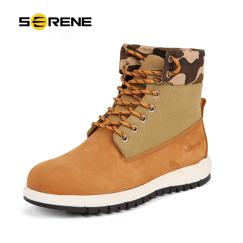 SERENE Brand Mens Short Boots Casual Canvas Leather Stitch Work Boots Camouflage Tooling Boots Lace Up Ankle Boots Shoes 3228 ic new original authentic free shipping 100% new products 1gc1 4210