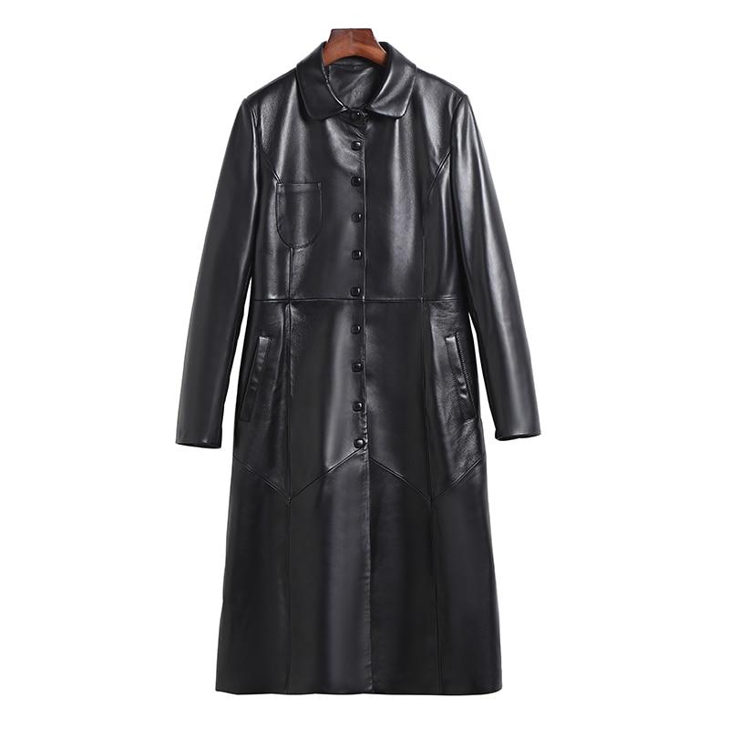 100% Manteau En Peau de Mouton Réel Véritable Veste En Cuir Automne Hiver Veste Femmes Vêtements 2018 Coréen Vintage Slim Down Manteaux ZT1424