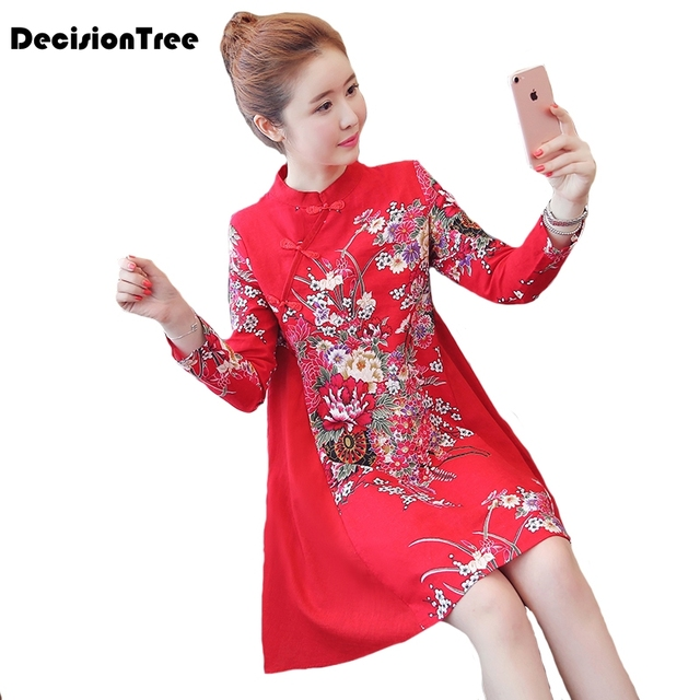2019 new chinese traditional women chinese qipao dress cheongsam chinese style long sleeve embroidery a line oriental dress