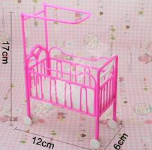2015 Best Selling Dolls Baby Bed for Barbie Dollhouse Plastic Super Cute Bed For Kelly Dolls for Barbie Doll House Furniture