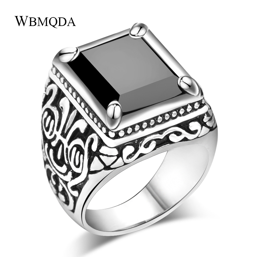 Ethnic Tibetan Silver Jewelry Vintage Textured Signet Ring Punk Rock Square Black Stone Ring For Men Accessories Gift