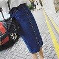 Falda larga de mezclilla para mujeres 2016 moda de cintura alta azul falda de jean larga KB1044