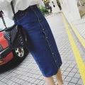 Saias jeans longas para mulheres 2016 moda de cintura alta azul jean saia longa KB1044