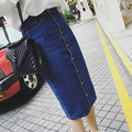 long denim skirts for women 2016 fashion high waist blue jean skirt long KB1044