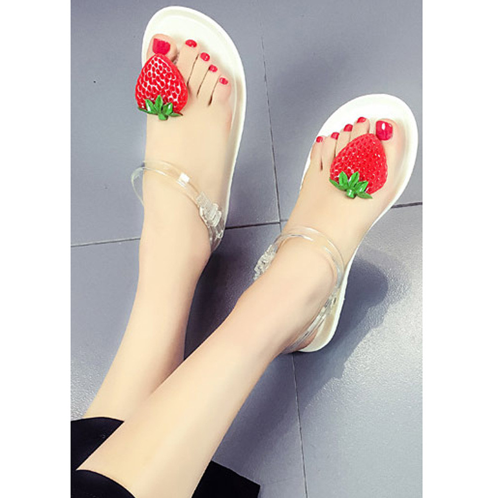 9059440985 US $8.39  2017 New Fashion Sandals Women Fruit Flip flops Sandals Shoes  Girls Flats Plate Flip Flop Beach Sandals Casual Comfortable Shoes-in Low  ...