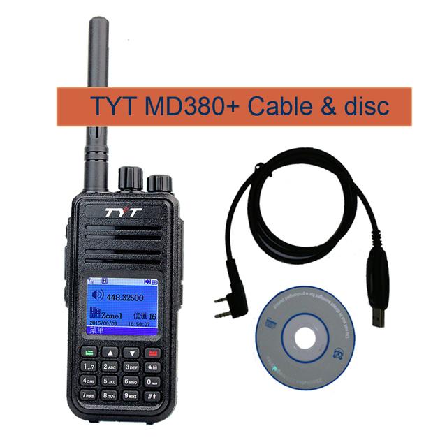 Dmr digital md-380 tyt walkie talkie profissional de 1000 canais de rádio 136-174 mhz tytera md380 two-way radio rt3 + cabo de programa