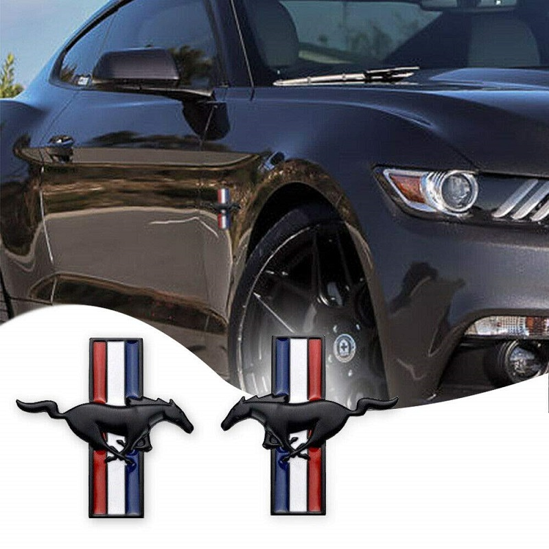 3D 2PCs Door Fender Emblem Running Horse Car Sticker Auto Decals For Ford Mustang Badge Logo Car Styling(China)