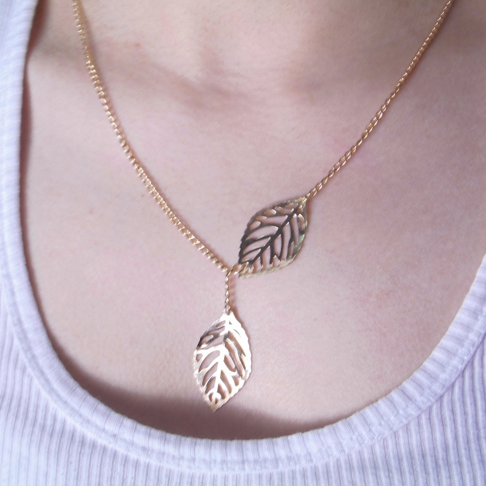 Collier Real Maxi Necklace Collares 2017 New Fashion Golden Hollow Leaves Female Charm Jewelry, Necklace Pendant Clavicle Chain