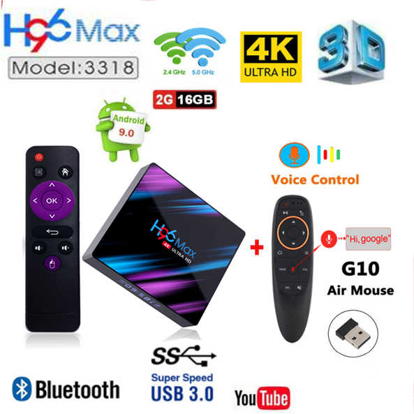 H96 MAX plus RK3318 Rockchip Dispositivo de TV inteligente Android 9,0 con bluetooth4.0 2,4g o 5g wifi usb3.0 teclado opcional i8 mx3 voz