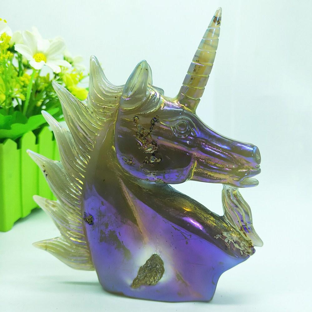 4.7/'/' Natural obsidian Hand Carved unicorn quartz crystal reiki rare gift 1pc