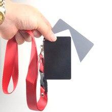 3 ב 1 כיס גודל דיגיטלי לבן שחור אפור איזון כרטיסי 18% אפור כרטיס עם צוואר רצועה עבור דיגיטלי צילום