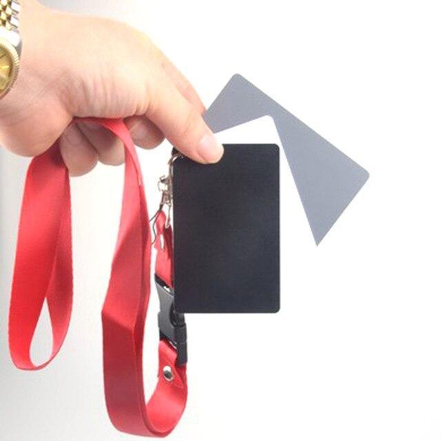 3 Trong 1 Túi Kích Thước Kỹ Thuật Số Trắng Đen Xám Cân Bằng Thẻ 18% Xám Thẻ Có Dây Đeo Cổ Cho Kỹ Thuật Số chụp Ảnh