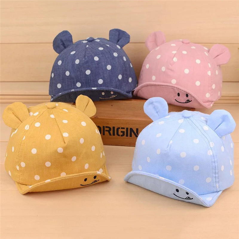 все цены на Cute Baby Hats 2018 Summer Baby Boys Girls Kids Polka Dot Peak Hat Smiling Face Wave Point Baseball Cap Sunhat for 1-3Y