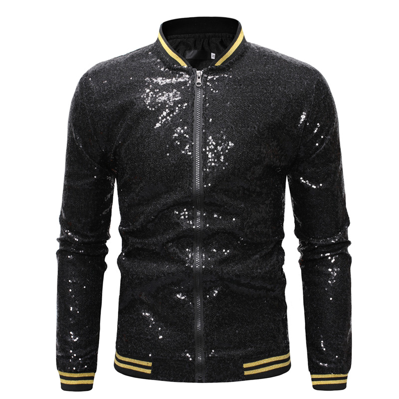 Image 3 - Shiny Sequins Sparkle Bomber Jacket Men 2019 Newest Gold Glitter Striped Zipper Mens Jackets And Coats Party Dance Show Clothes-in Jackets from Men's Clothing