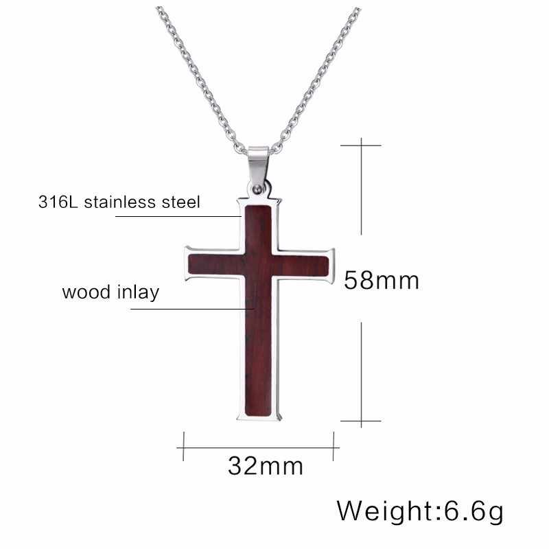 עכשווי גברים של גדול עץ מרקם משובץ נירוסטה ישו צלב תליון שרשרת אמונה זכר תכשיטים