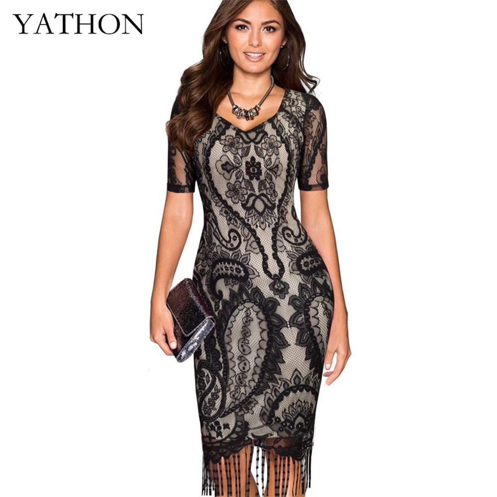 Yathon Sexy Black Floral Lace Tassel Flapper Cocktail